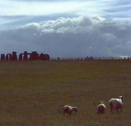 Approaching storm, sheep and Stonehenge